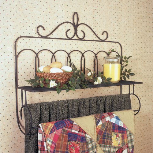 J & J Wire Victorian Double Quilt Holder with Shelf