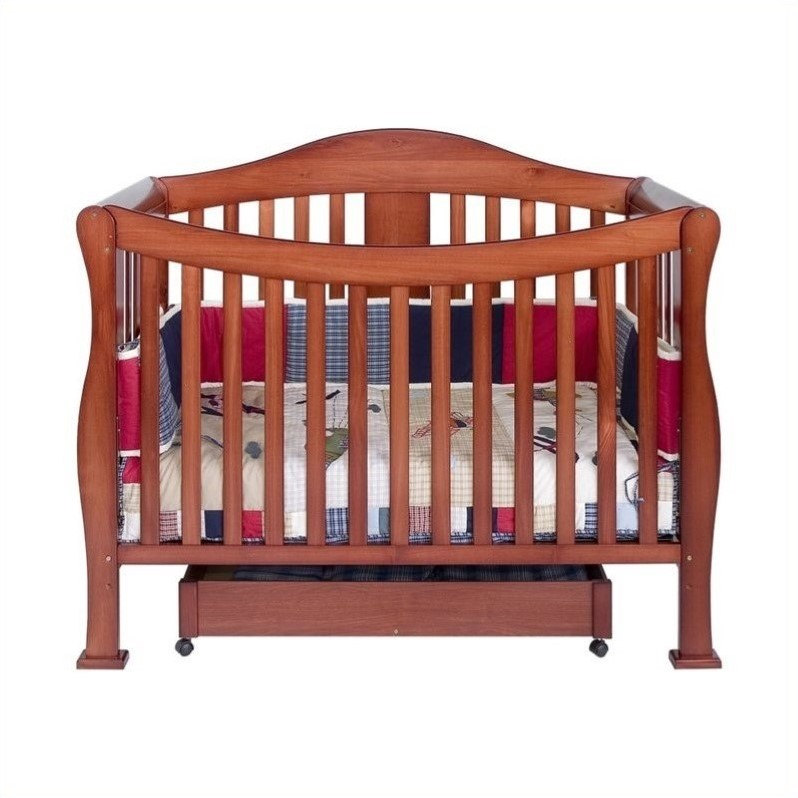 DaVinci Parker 4 in 1 Convertible Wood Baby Crib with Toddler Rail in Cherry
