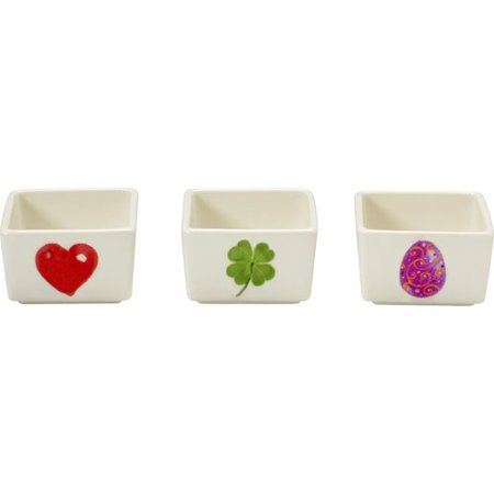 Small Appetizer - Celebrations by Precious Moments 171512 2 oz Set of Three (3) Small Spring Heart Shamrock and Easter Egg Porcelain Appetizer and Dip Bowls 1.5-inches