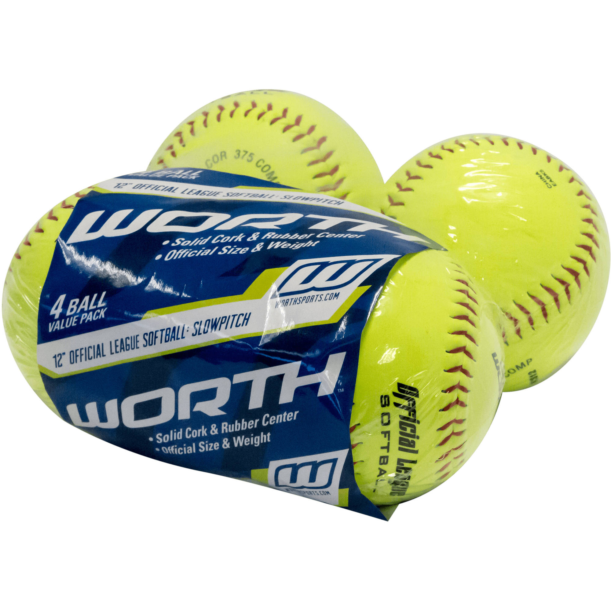 "Worth 12"" Fastpitch 4-Pack of Softballs NC12BB-SW4"