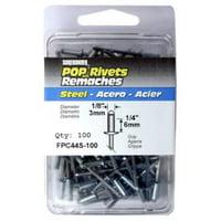 "100Pk Medium Steel Rivet, 1/8""D FPC Rivets FPC44S-100 018239313167"