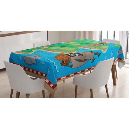 Pirate Ship Table Decoration (Island Map Decor Tablecloth, Funny of Treasure Island with Pirate Ship and Parrot Kids Play Room Decoration, Rectangular Table Cover for Dining Room Kitchen, 60 X 84 Inches, Multi, by)