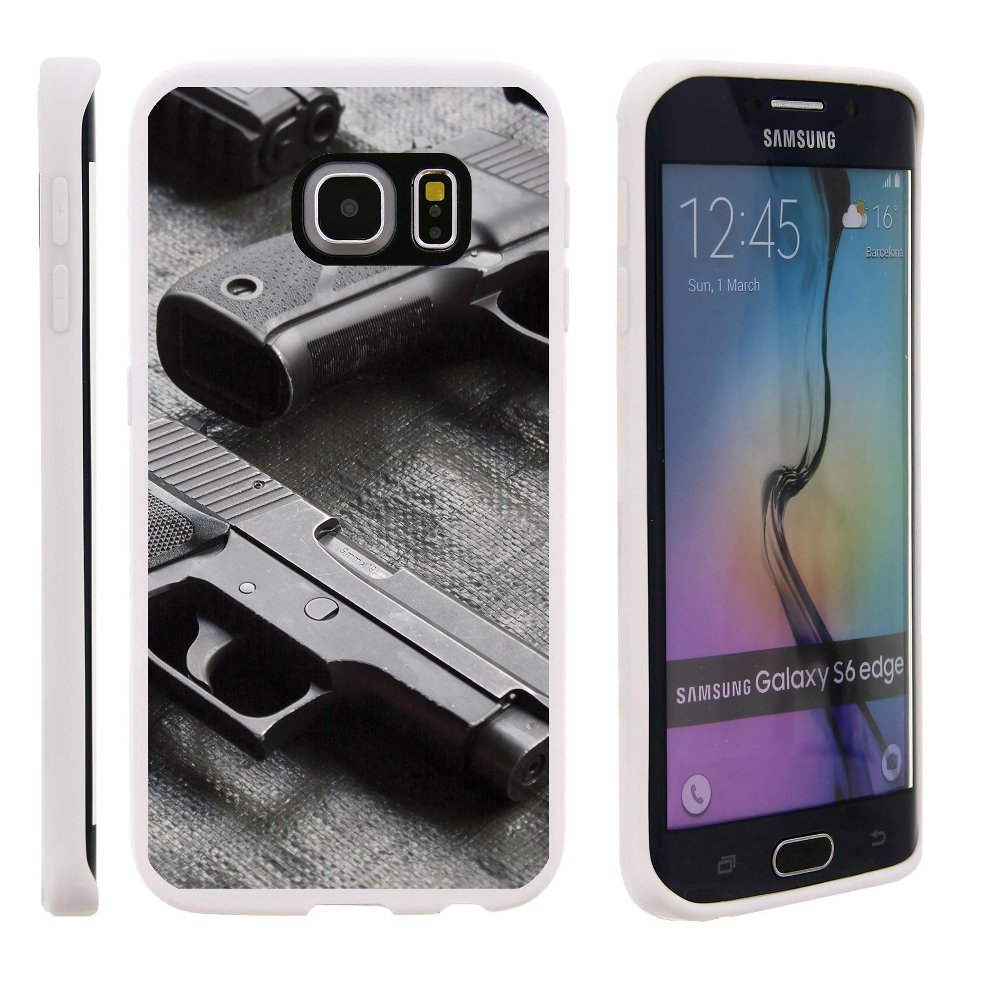 Samsung Galaxy S6 Edge G925, Flexible Case [FLEX FORCE] Slim Durable TPU Sleek Bumper with Unique Designs - Pistol
