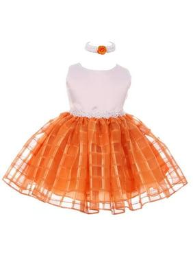 Little Girls White Orange Stone Encrusted Square Overlay Flower Girl Dress