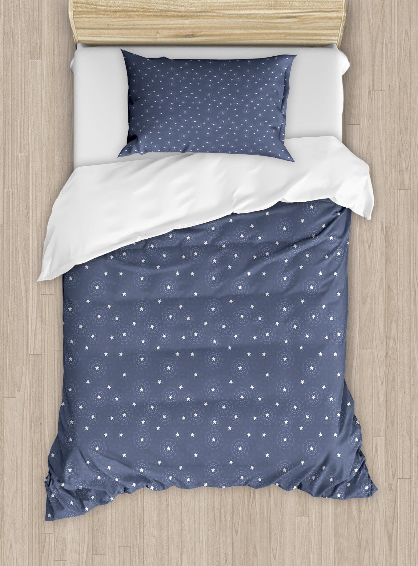 Navy Blue Duvet Cover Set Summer Night Sky With Messy Little White