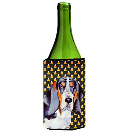 Basset Hound Candy Corn Halloween Portrait Wine bottle sleeve Hugger - 24 - Wine Bottle Cork Halloween Costume