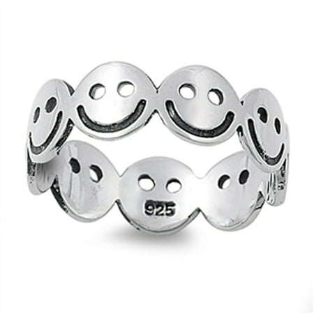Smiley Face Charts - Sterling Silver Women's Happy Smiley Face Ring (Sizes 5-10) (Ring Size 5)
