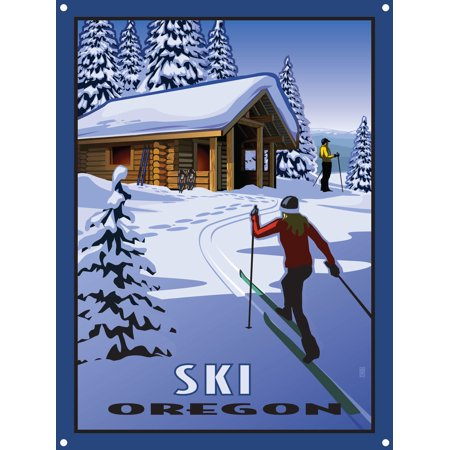 Classic Cross Country Ski - Ski Oregon Cross Country Skiers & Cabin Metal Art Print by Paul Leighton (9