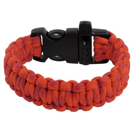 Unique Bargains Whistle Plastic Buckle Red Amaranth Nylon Survival Bracelet