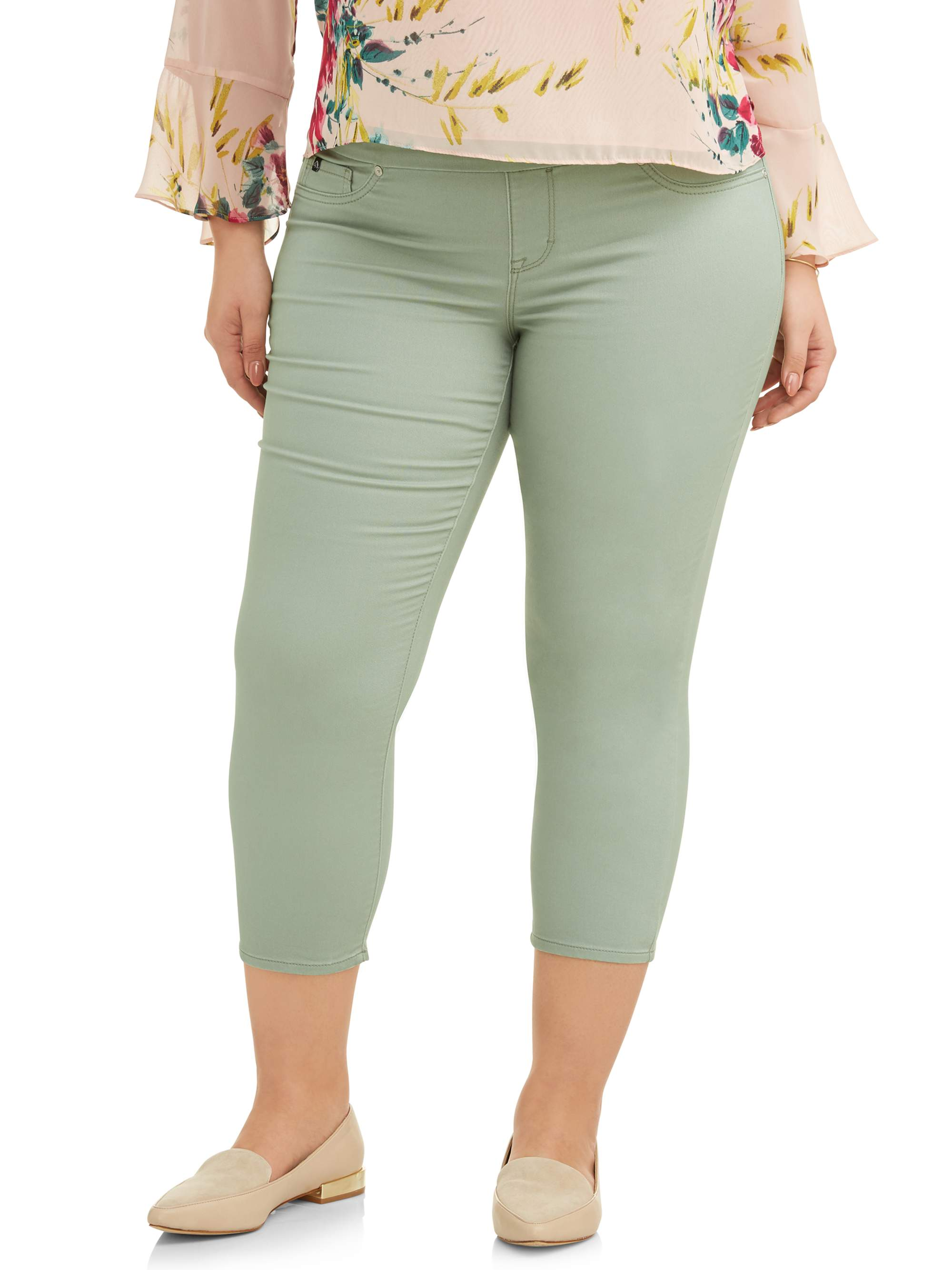Women's Plus Wide Waistband Pull on Legging Crop