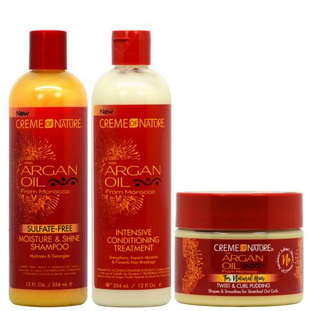 Crème of Nature Argan Oil Moisture Shampoo + Intensive Treatment + Twist and Curl Pudding (Creme Of Nature Argan Oil Pudding Perfection)