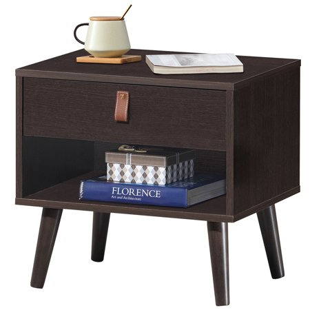 Costway Nightstand Sofa Side End Table Bedside Table Drawer Storage