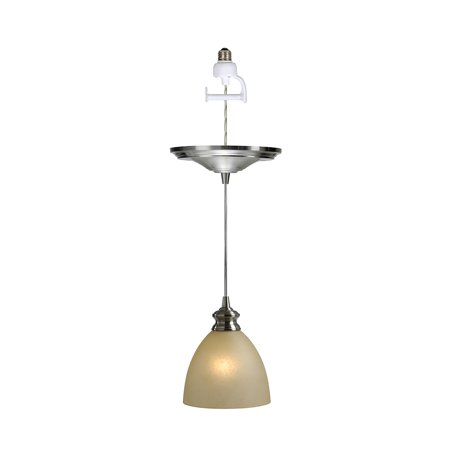 Nickel Beacon Pendant Lighting (Instant Pendant Recessed Light Conversion Kit Brushed Nickel Parchment Glass Shade )
