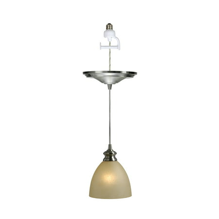Forte Lighting Nickel Pendant - Instant Pendant Recessed Light Conversion Kit Brushed Nickel Parchment Glass Shade