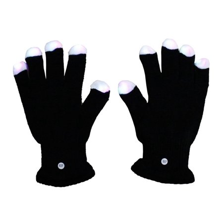 7 Functions 4 Speed Red Blue Green Multicolor Flash Black with White Tip LED Gloves w/o Batteries ( Lighted Up Rave Party Dancing Club Dance.., By Astra Depot