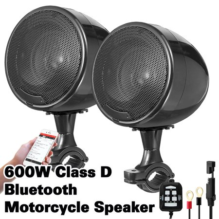 Motorcycle Sound System (600W 2 Speakers Waterproof Speaker Sound System B luetooth Handlebar Amplifier 360° Adjustable with Handlebar Clamp + Horn Bracket for Motorcycle ATV Snowmobile)