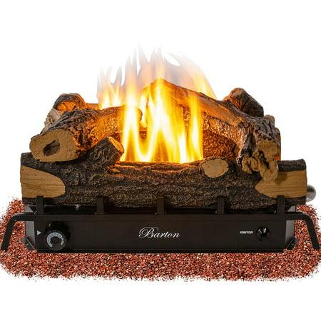 18-in 30,000 BTU Fireplace Log Adjustable Flame Grate Split Oak Vent Free Natural Gas ANSI Certified