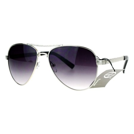 70bb4b4a128 SA106 Luxury Womens Metal Jewel Fashion Aviator Sunglasses Silver ...