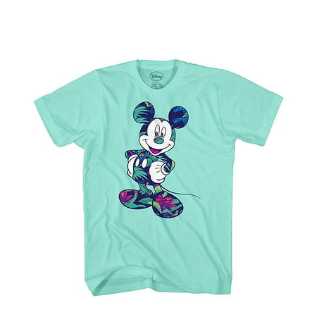 Disney Mickey Mouse Tropical Mint Green Disneyland World Tee Funny Humor Adult Mens Graphic T-Shirt - Disney Clothing For Adults