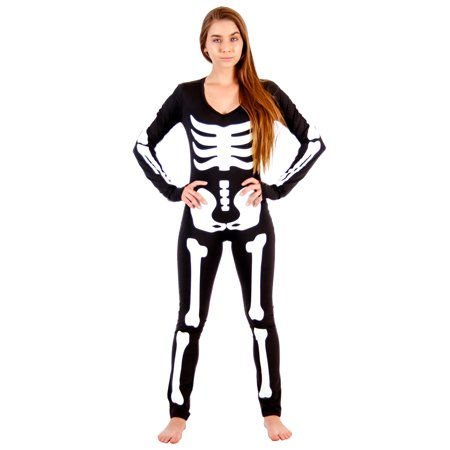 Lady Skeleton Body Suit Spandex Costume - Skelton Costumes