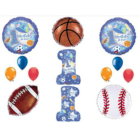1st First Happy Birthday party balloon Sports All Star Decorations Supplies - Sports Birthday