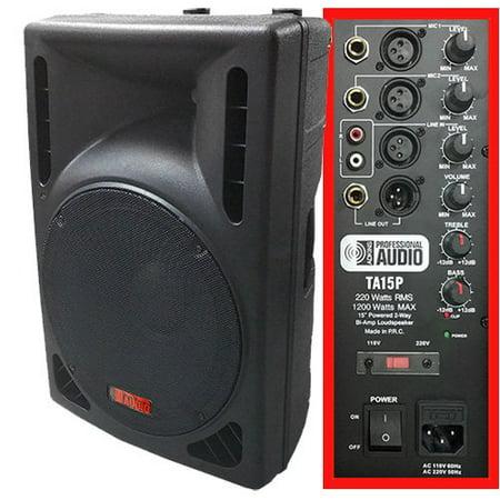 1200 Watt Powered DJ Speaker - 15-inch - Bi-Amp 2-Way Active Speaker System by Adkins Pro Audio - TA15P (15 Dj Active Speakers)