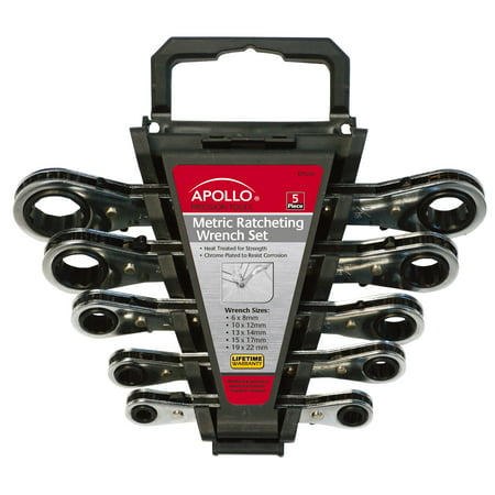 Apollo Tools DT1213 5-Piece Ratcheting Wrench Set Metric ()