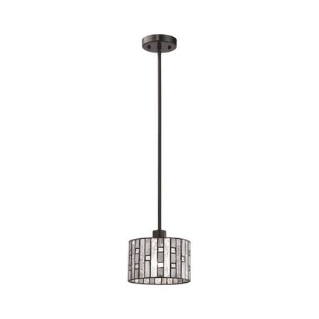 Pendants 1 Light With Tiffany Bronze Finish Mercury Glass With Clear Rippled And Gray Art Glass Inserts Medium Base 8 inch 60 Watts - World of Lamp