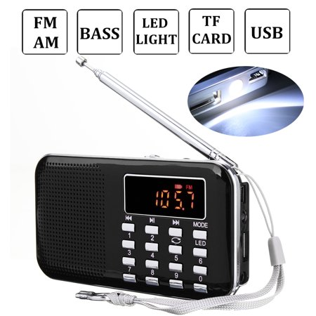 Multifunction FM/AM Radio Mini Pocket Music Player Outdoor Speaker Telescopic Antenna World Frequency AUX Earphone Jack Battery