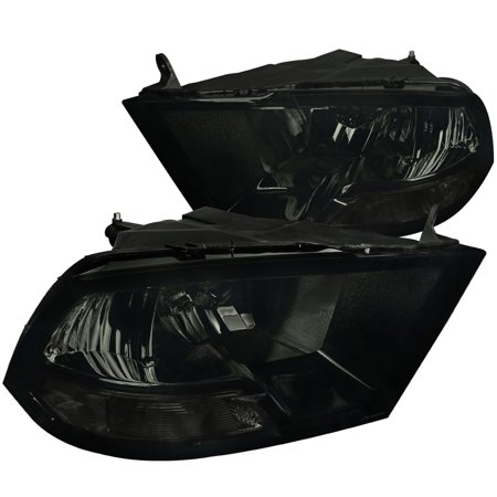 Spec-D Tuning For 2009-2019 Dodge Ram 1500 2500 3500 Smoke Headlights Front Driving Head Lamp Pair 2009 2010 2011 2012 2013 2014 2015 2016 2017 2018 (2016 Dodge Ram 2500 Cummins For Sale)
