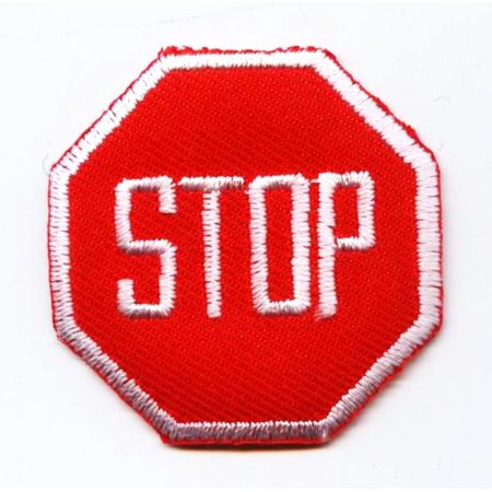 Stop Sign - Red/White - Highway Street Signs - Iron on Applique/Embroidered (Best Stops On Highway 1)