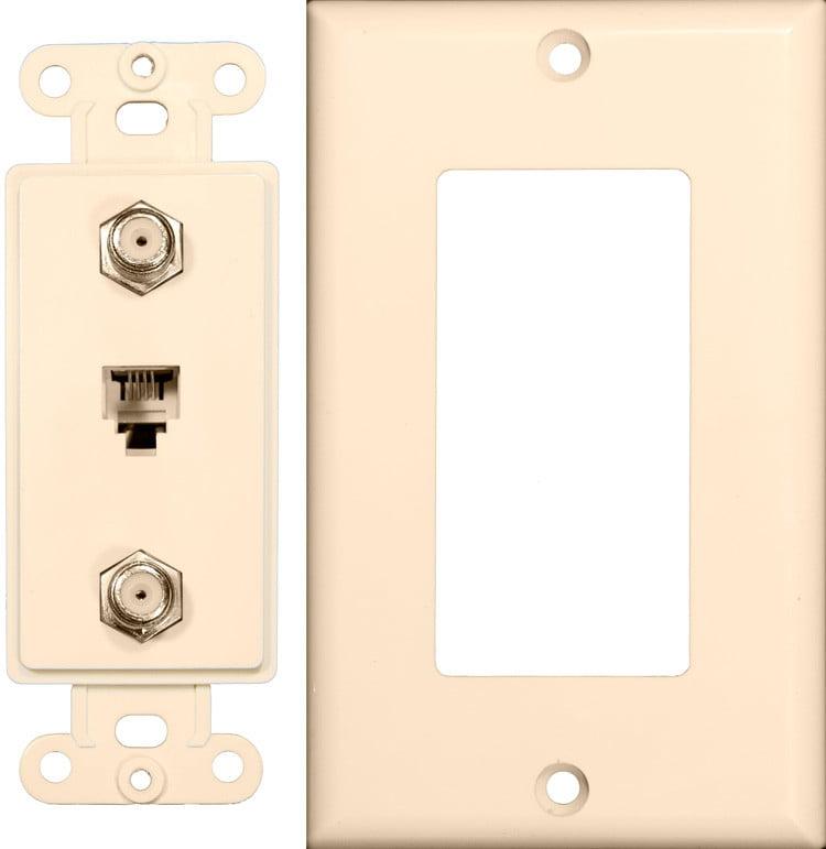 Decorator Double Coax Single Phone Jack 2 Piece Lt. Almond