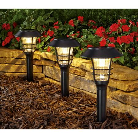 Better Homes And Gardens 3 Piece Avalon Solar Powered Landscape Light Set Black Finish