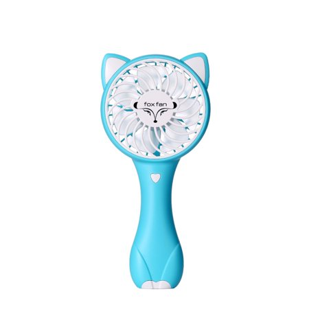 Mini Fox Hand-held Fan Portable USB Charging Low Noise 3 Modes Wind Speed Pure Color Gift Color:blue Specification:19 * 9 * 4.2cm