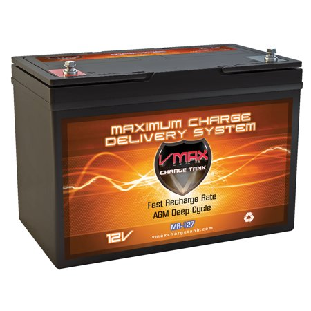 - VMAX MR127-100 12V 100Ah AGM Deep Cycle Marine Battery for 12 Volt 45 Pound 45lb Thrust 12V Trolling Motors
