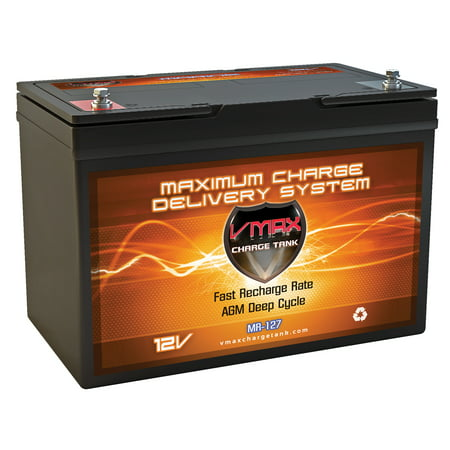 VMAX MR127-100 12V 100Ah AGM Deep Cycle Marine Battery for Minn Kota PowerDrive 55 Trolling Motor Bluetooth 12V 55lb Trolling Motor