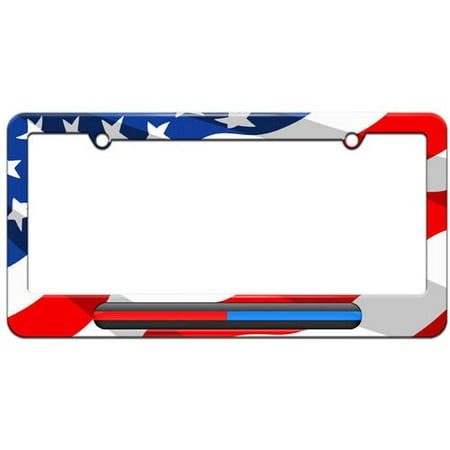 Thin Blue Red Line, Firefighter Police License Plate Tag Frame, Multiple Colors