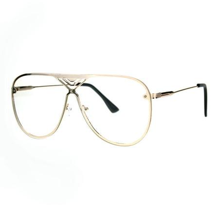 90f8e61955 Mens Flat Panel Shield Lens Rimless Luxury Aviator Clear Lens Eyeglasses  Gold Black - Walmart.com