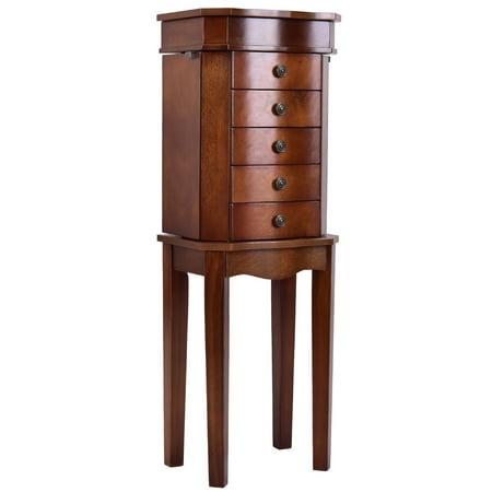 Goplus Jewelry Cabinet Armoire Storage Box Stand Chest Organizer w/ 5 Drawers & Mirror ()