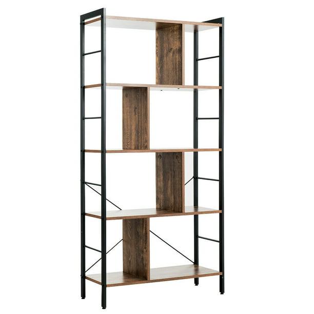 Gymax 4-Tier Bookcase Industrial Bookshelf Floor Standing Storage Rack