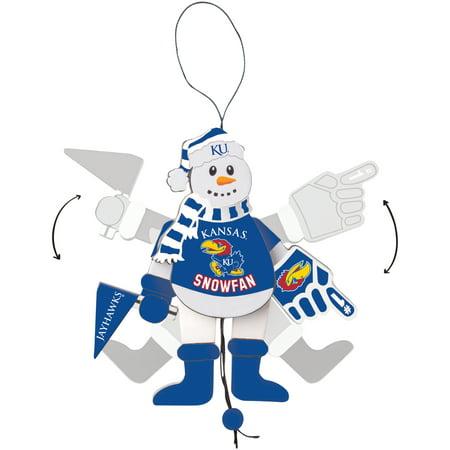 Kansas Jayhawks Wood Cheering Snowman Ornament - No Size - Wood Snowman