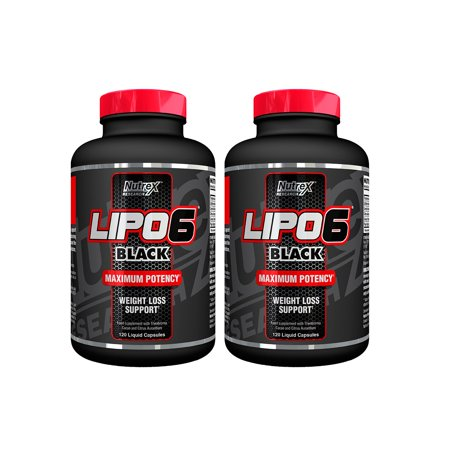 Nutrex Lipo 6 Black Extreme Potency  Powerful Weight Loss Formula 120 Capsules  Pack Of 2