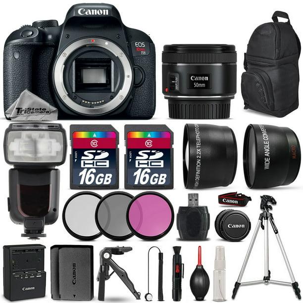 Canon EOS Rebel T7i DSLR Camera 800D + 50mm 1.8 STM + Flash + EXT BAT - 32GB Kit