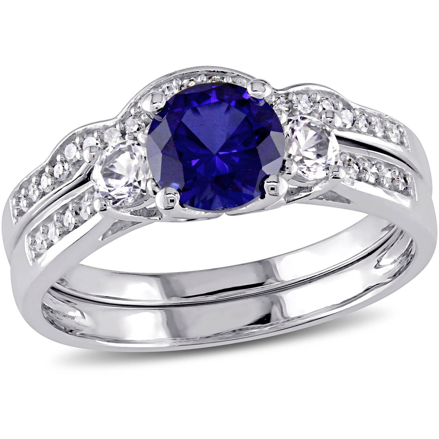 Tangelo 1-1 3 Carat T.G.W. Created Blue Sapphire and Created White Sapphire with 1 7 Carat T.W. Diamond 10kt White Gold... by Tangelo