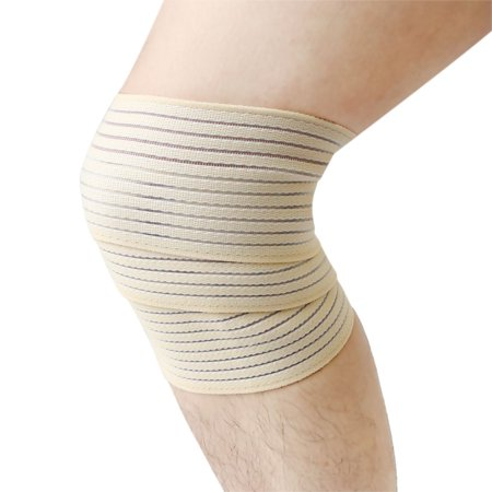 Beige Breathable Elastic Leg Support Wrap Bandage Brace Sprain Joint Protection - Leg Wraps Bandages