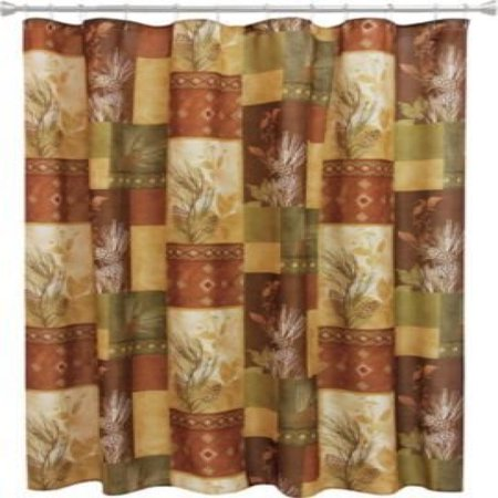 Bacova Guild Pine Cone Silhouettes Fabric Shower Curtain Designed by Cynthia Coulter (Pine Cone Fabric Shower Curtain)