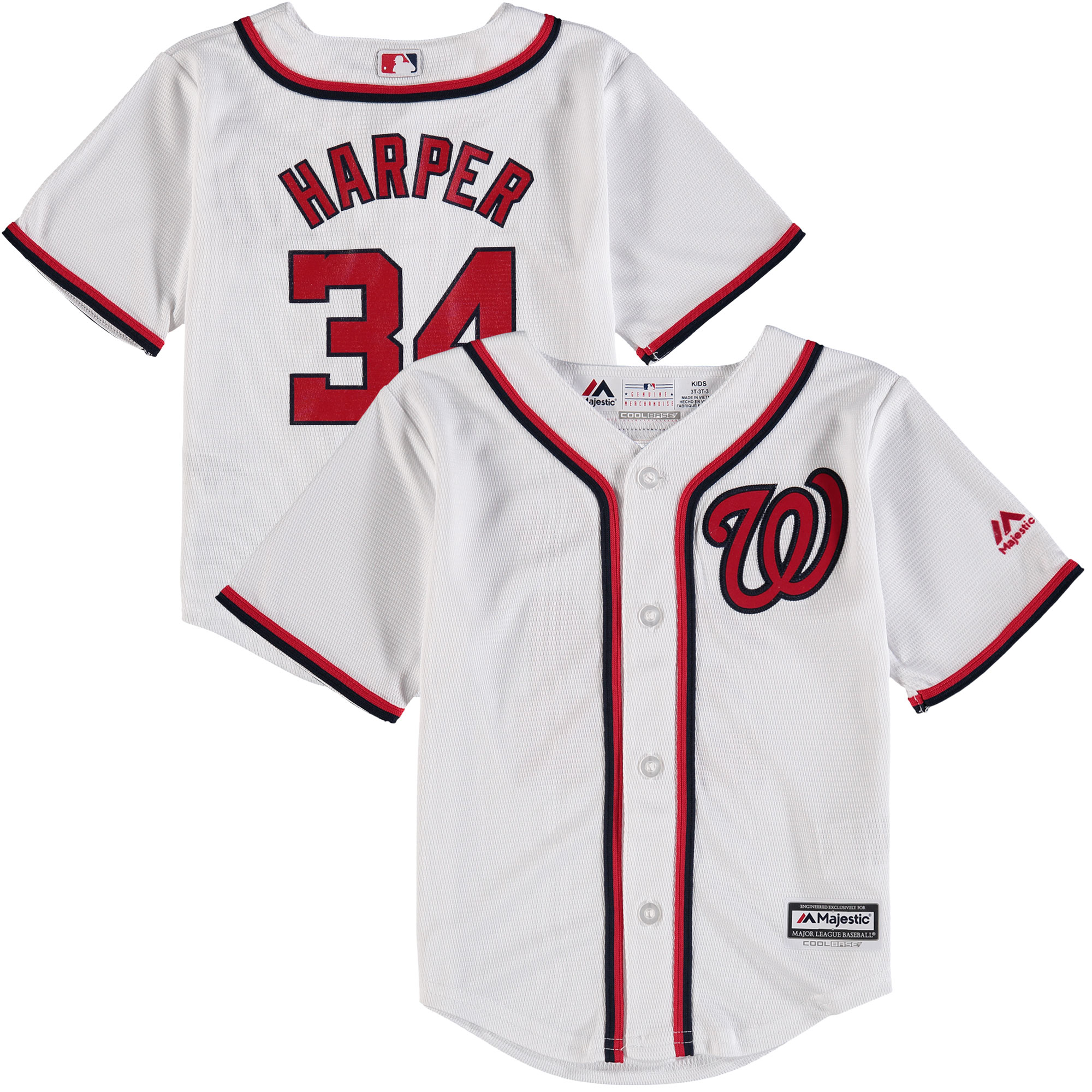 Bryce Harper Washington Nationals Majestic Toddler Home Official Player Cool Base Jersey - White