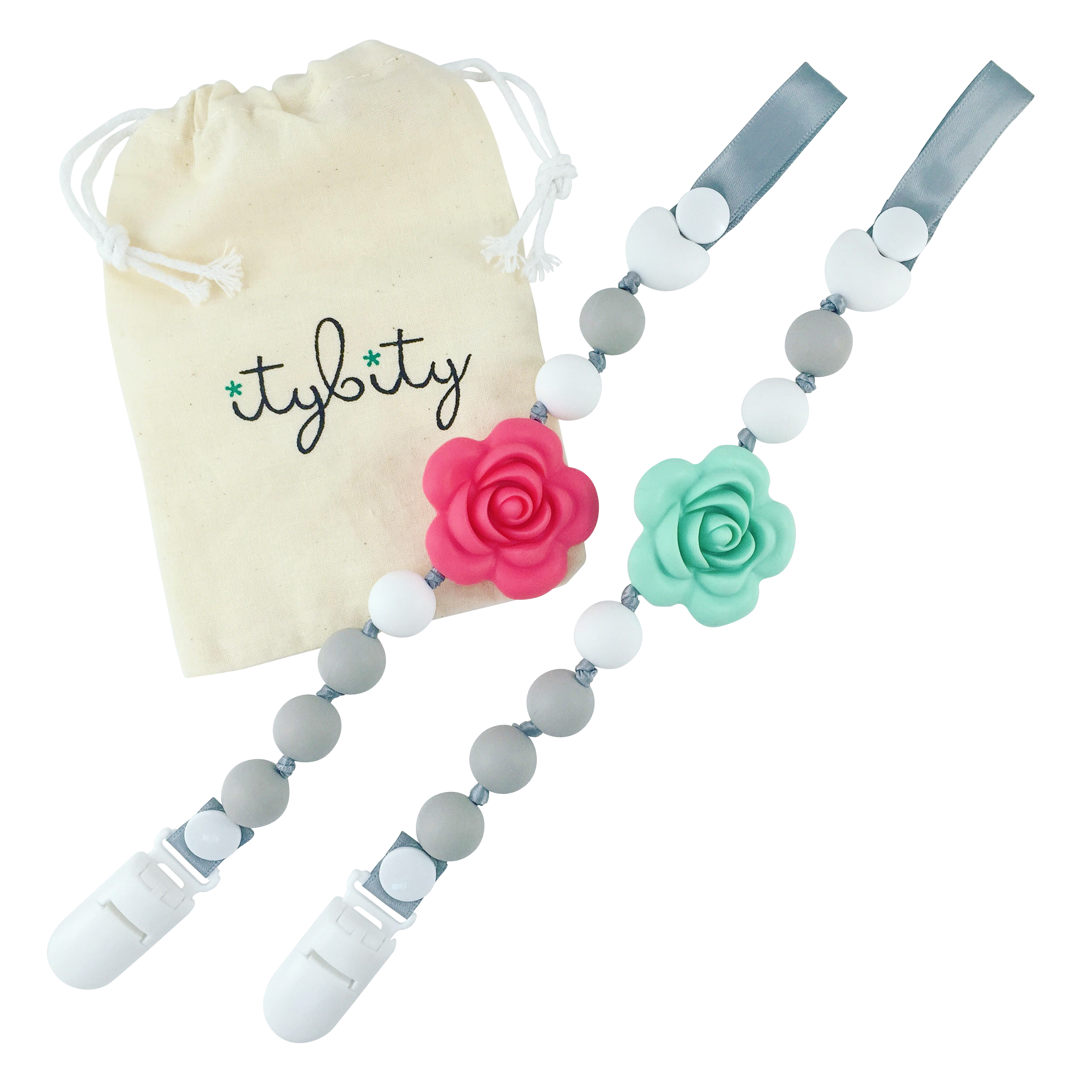 Pacifier Clip Girl, BPA Free Silicone Teether, Set of 2 (Soft Gray/Coral/Mint/White)
