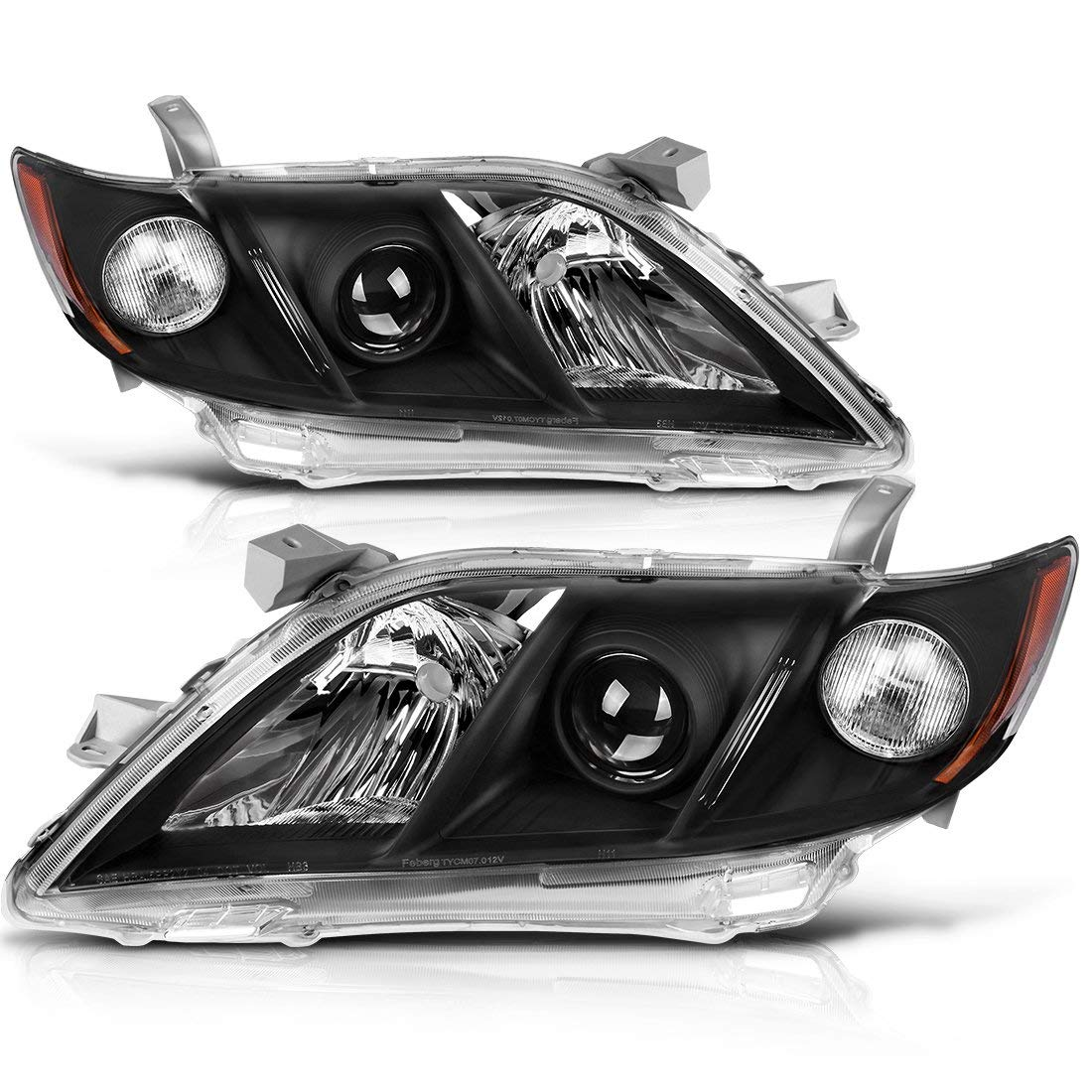For 2007 2008 2009 Toyota Camry Headlight Assembly Black Housing Headlamp with Amber Reflector Clear Lens (Driver and Passenger Side)