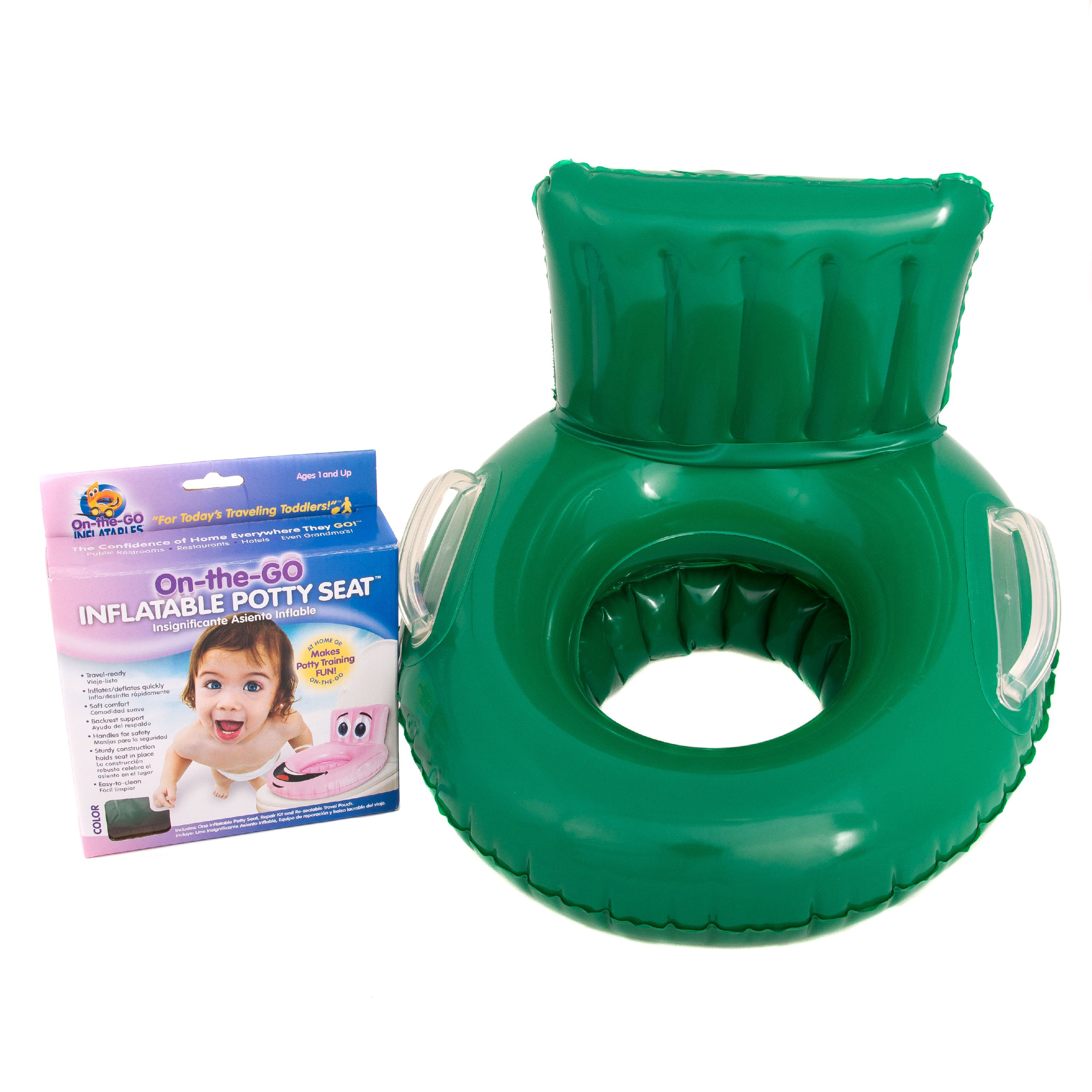 On the Go Inflatables Green Soft Inflatable Travel Potty Training Seat